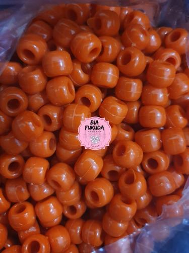 50grs micangão laranja tererê plástico 10mm furo 3mm