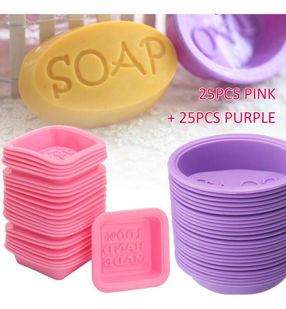 50pcs Handmade Silicone Soap Mold Diy Oval Quadrado Fazendo