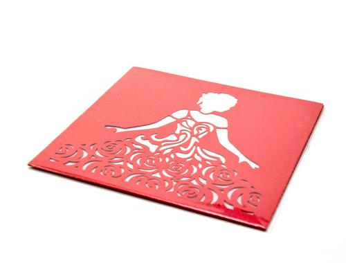 50pz sobre invitacion corte laser xv,boda rojo art319