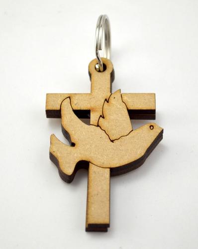 50pzs llavero cruz paloma recuerdo bautizo art99a15