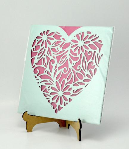 50pzs sobre azul corazon invitacion corte laser boda art312