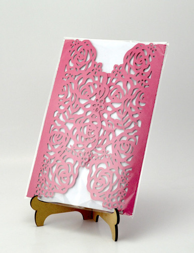 50pzs sobre azul rosas invitacion corte laser boda xv art303