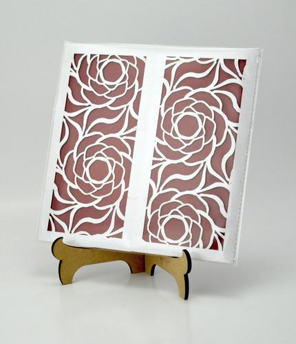 50pzs sobre con rosas invitacion corte laser boda, xv art308