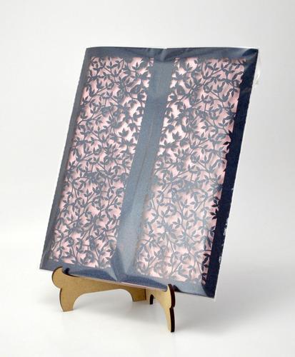 50pzs sobre invitacion boda corte laser hojas azul art320