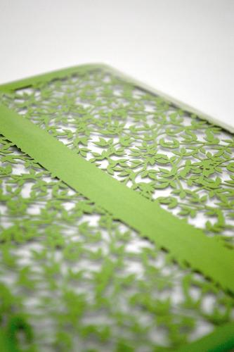 50pzs sobre invitacion boda corte laser hojas verde art320