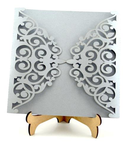 50pzs sobre invitacion corte laser boda, xv art307 plata
