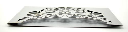 50pzs sobre invitacion corte laser boda, xv art314 plata