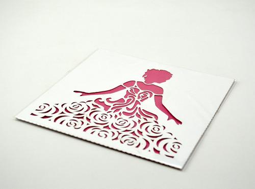 50pzs sobre invitacion corte laser xv,boda aqua art319