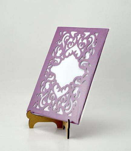 50pzs sobre lila garigoleainvitacion corte laser boda art326