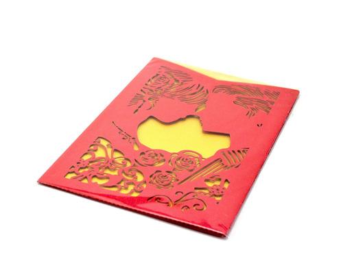 50pzs sobre para invitacion corte laser boda, blanca art321