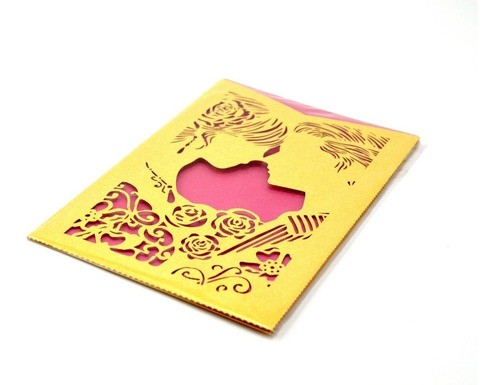 50pzs sobre para invitacion corte laser boda rojo art321