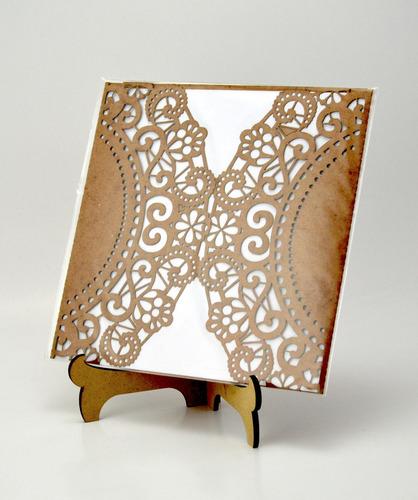 50pzs sobre rojo blonda invitacion corte laser boda art309