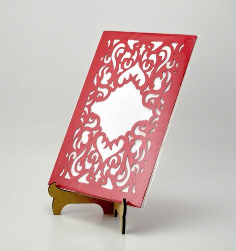 50pzs sobre rojo curius invitacion corte laser boda art326