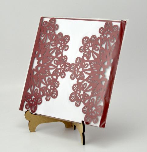 50pzs sobre rojo  invitacion corte laser boda art306