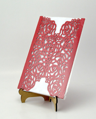 50pzs sobre rojo rosas invitacion corte laser boda, art303