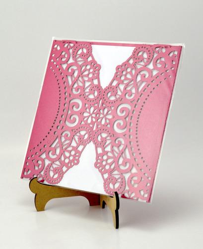 50pzs sobre rosa blonda invitacion corte laser boda art309