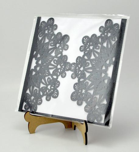 50pzs sobre vintage invitacion corte laser boda art306