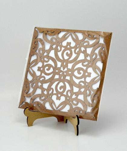 50pzs sobre vintage invitacion corte laser boda, xv art305