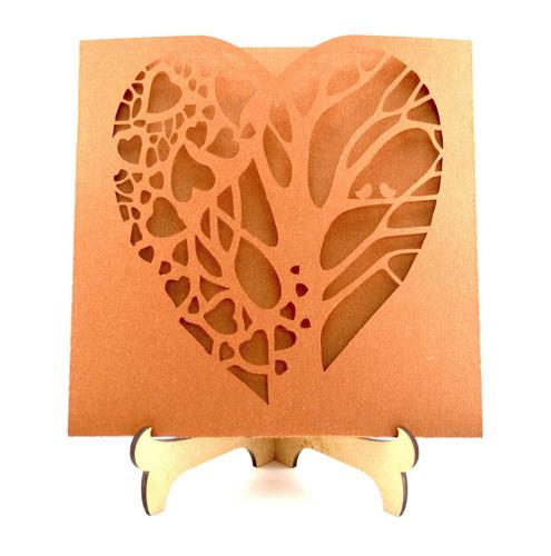 50pzssobre invitacion corte laser boda, xv art313 dorado oro