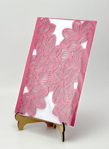 50pzssobre vintage flores invitacion corte laser boda art304