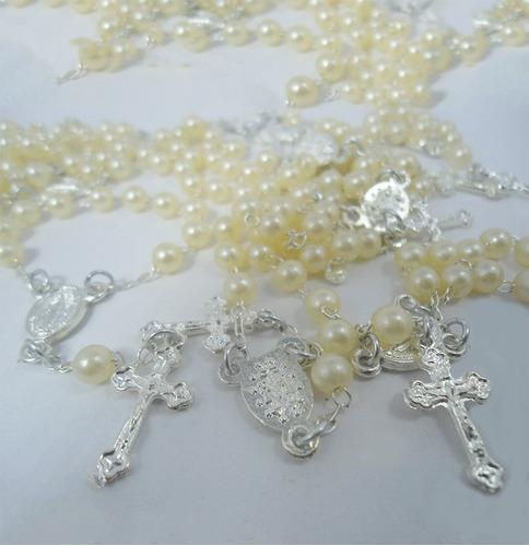 50un tercinhos - mini terço branco - lembrancinha prata!!!