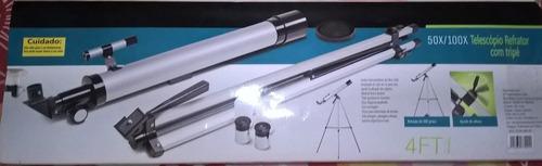 50x/100x telescópio refrator com tripé- novo