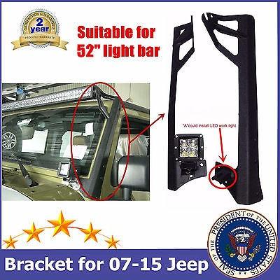 52 pulgadas trabajo luz led barra acero superior soportes
