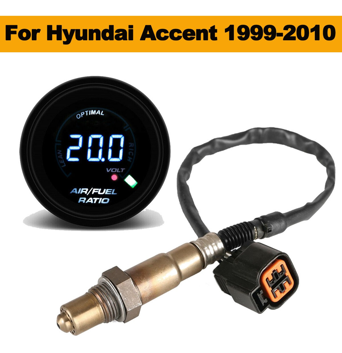 52mm Digital Car Air Fuel Ratio Gauge+Oxygen Sensor For 1999-2010 Hyundai Accent
