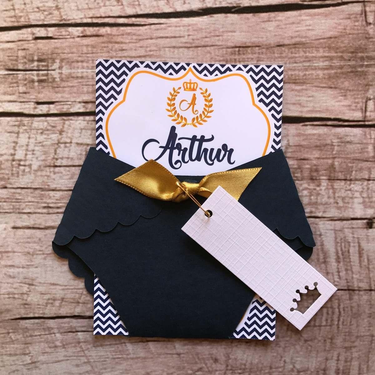 55 Convites Chá De Bebê Príncipe Rei Realeza Azul Dourado R 160