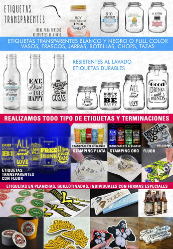 55 etiquetas autoadhesivas botellas frascos personalizadas