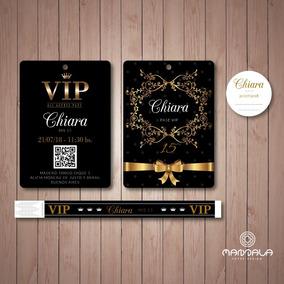 55 Invitaciones Vip 15 Doble Faz Pulseras