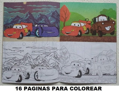 55 libros p/ colorear 16 páginas + plancha stickers a pintar