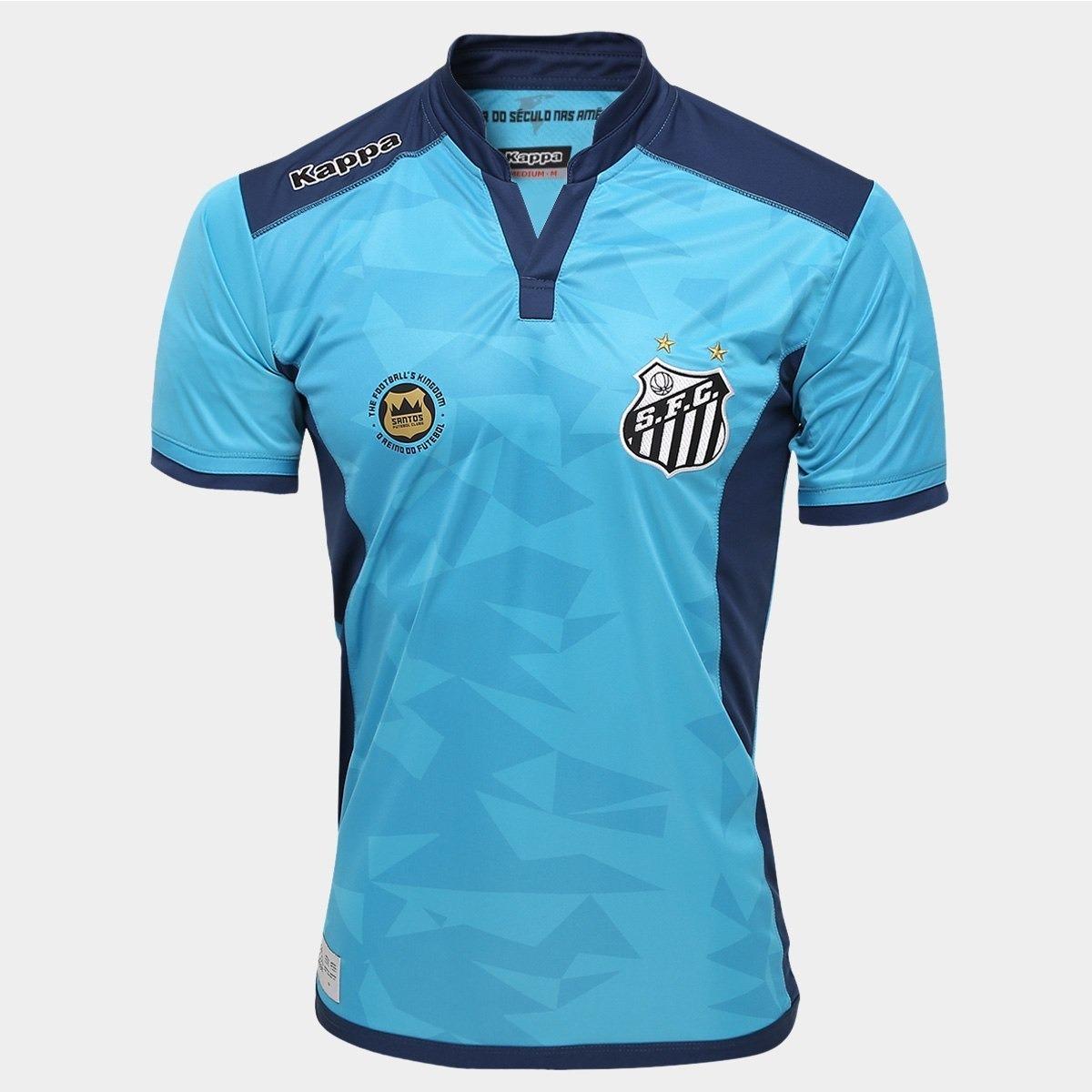 5153d20ed6 55% Off! Camisa Santos Goleiro Oficial Kappa Azul 2016 2017 - R  118 ...
