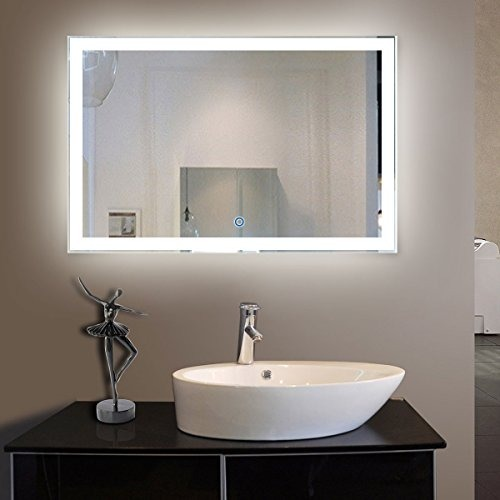55 X 36 In Led Cuarto De Baño Decorativo Espejo Plateado ...