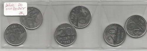 556 - série de moedas brasil - 20 cruzeiros 1981 a 1986