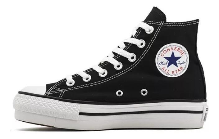 557141c Plataformas Botitas Converse Negras Blk All Star