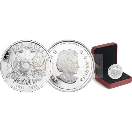 5876 # canada $1 2011 prata proof 36mm