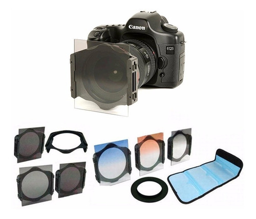 58mm kit 6 filtros tipo cokin nd2 4 8 + cores + suporte case