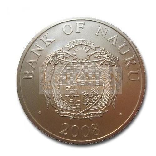 5938 nauru $10 2008 prata ø38mm moeda 3d natal - papai noel