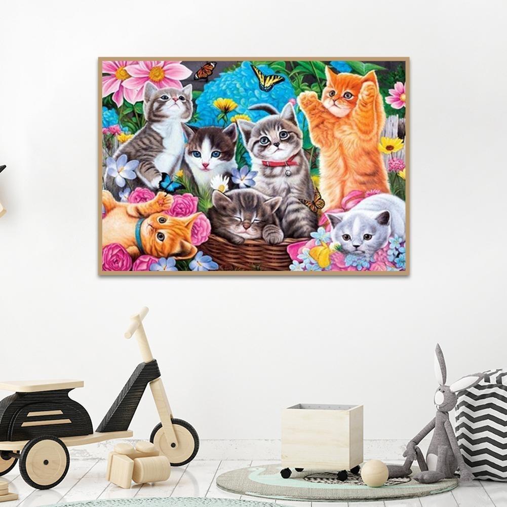 kit de punto de cruz,5d pintura diamante,square diamond painting bordado de gatos para decoraci/ón del hogar 30 x 40 cm Kits de pintura de diamantes cuadrados 5D para bricolaje