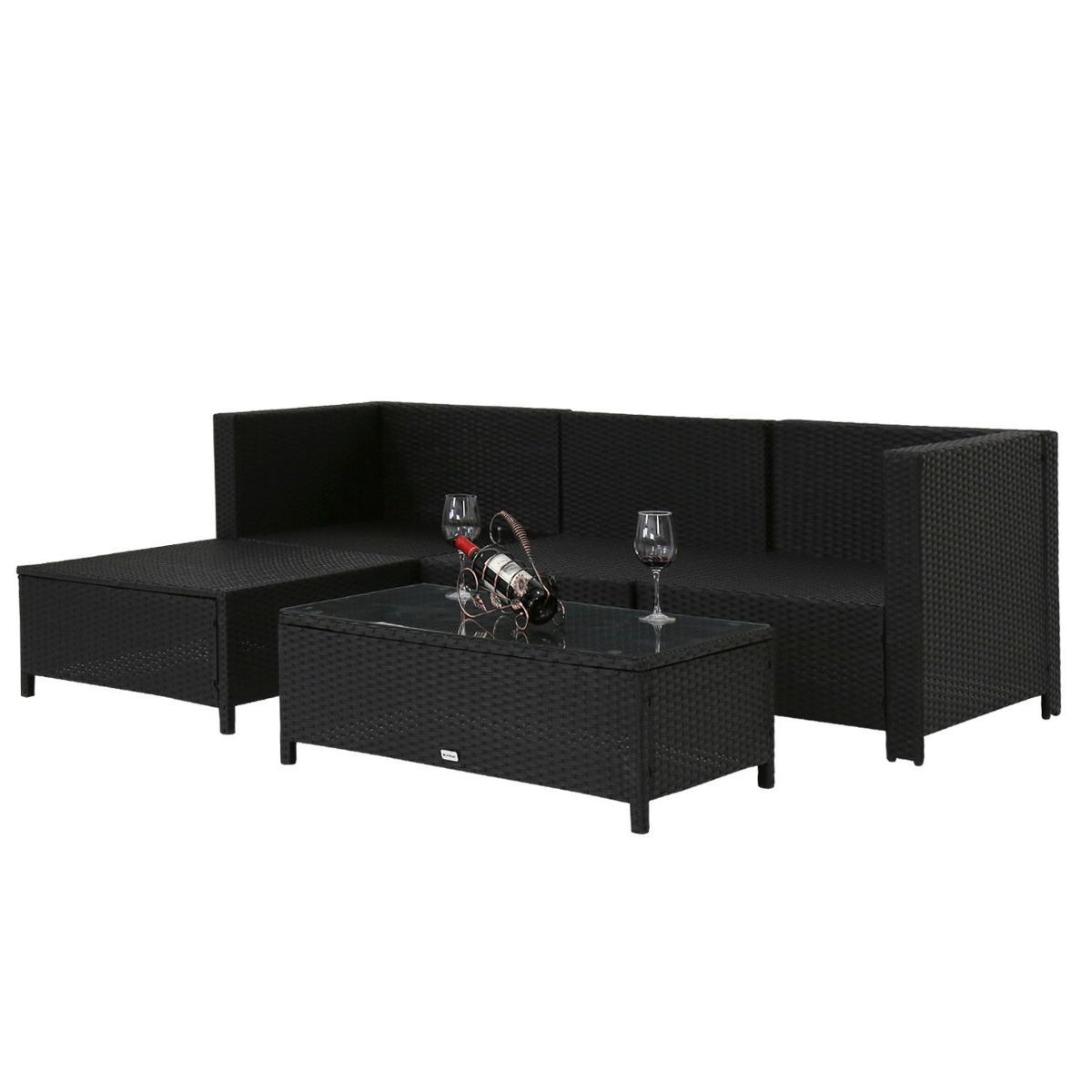 5pc Al Aire Libre Patio Rota Mimbre Sofá Set Cojines Muebles ...
