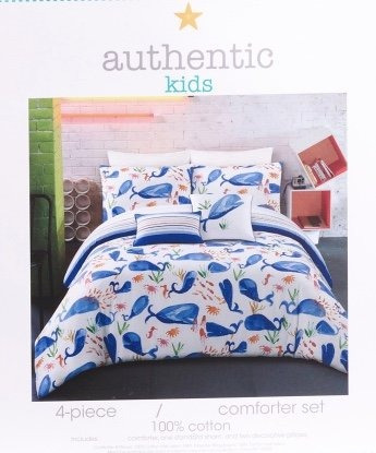 5pc Authentic Kids Artistica Whale Comforter Set Fullqueen