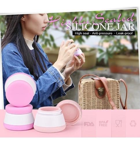 5pza contenedor silicona crema maquillaje tarro 100% no fuga