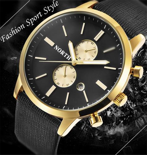 5relógio masculino luxo pulseira de couro a prova d`água 30m