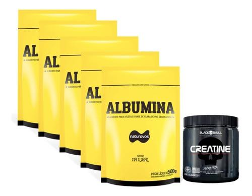 5x albumina 500g natural naturovos + creatina 300g black skull