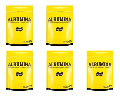 5x albumina 500g - naturovos (banana/morango/chocolate)