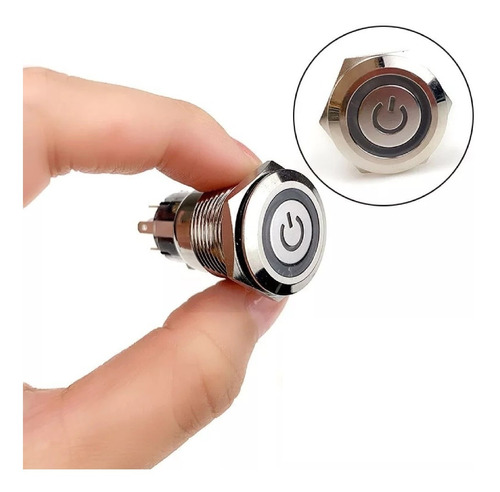5x botões universa liga e desliga 12v led inox 16mm c/ trava