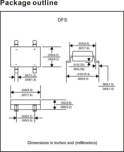 5x db107s smd-4 puente rectificador 1a 1000v dbs db107