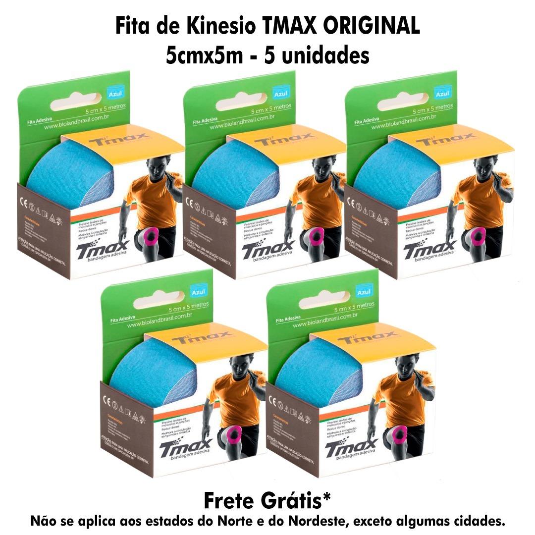 f26e3df0e2 5x Fita Kinesio Tape Tmax Bandagem Elastica 5x5azul Fretgra  - R ...