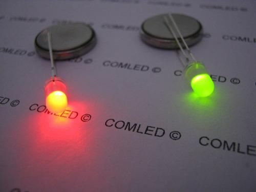 5x mini led bicolor 5mm difuso vermelho e verde catodo comum